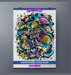 Cartoon hand drawn doodles sea life poster design vector