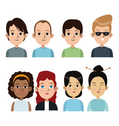 cartoon people boys and girls together community vector image