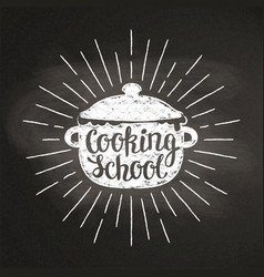 Chalk silhoutte of boiling pan with sun rays vector