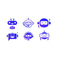 Chat bot icon set isolated on white vector