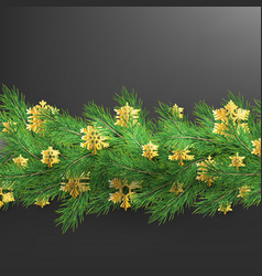 christmas border made of realistic looking pine vector image