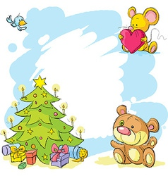 Christmas frame with teddy bear cute mouse and vector
