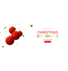 christmas sale horizontal banner vector image