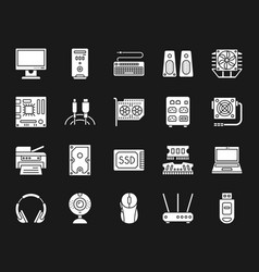 computer white silhouette icons set vector image