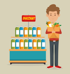 Consumer with shopping bag of groceries vector