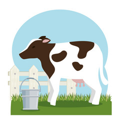 Cow farm animal icon vector