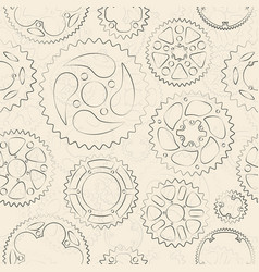 cream seamless pattern with gears and cogs vector image