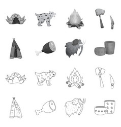 Design evolution and neolithic icon set vector