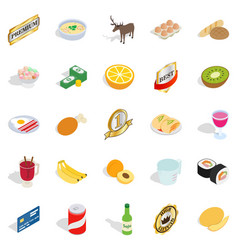 Dinnerware icons set isometric style vector