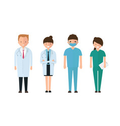 Doctors and other hospital staff in cartoon style vector