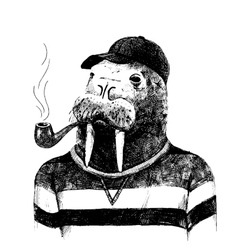 dressed up walrus in hipster style vector image