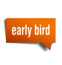 Early bird orange 3d speech bubble vector