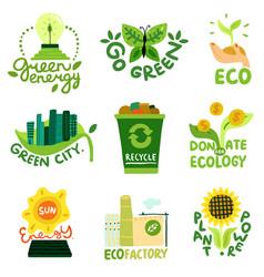 ecological restoration emblems vector image