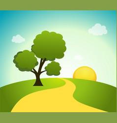 field tree and sunrise sky vector image