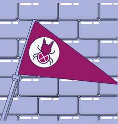 Flag with bug and wall vector