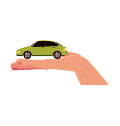 flat car model in opened palm of hand vector image