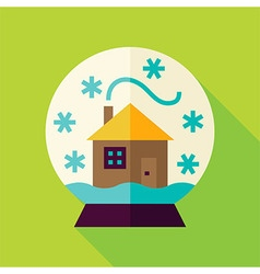 Flat Snowglobe with House Icon vector image