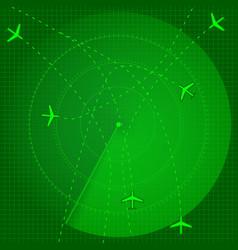 flight radar green aviation screen vector image