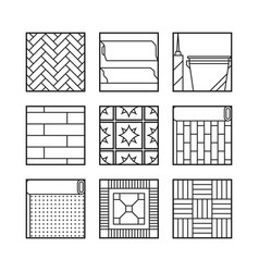 floor covering flat linear icons finishing vector image