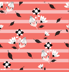 folk black and white flowers on pink and coral vector image
