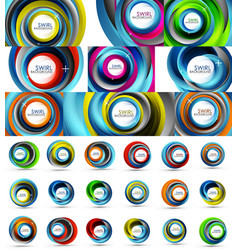 fresh business waves and swirls design abstract vector image