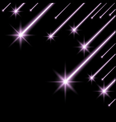 Glowing falling stars purple color vector