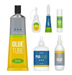 glue packages stationary collection bottles stick vector image