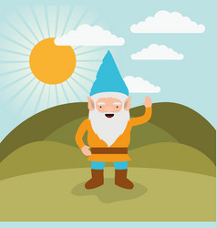 gnome fantastic character greeting expression in vector image