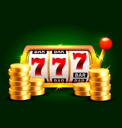 golden slot machine wins the jackpot vector image