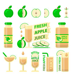 Green apple and fresh juice flat elements vector