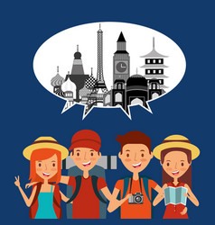 Group tourists in vacations speech bubble vector