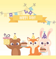 happy day fox rabbit and bear with hats cakes vector image