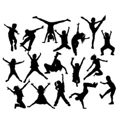 Happy Kid and Hip Hop Silhouettes vector