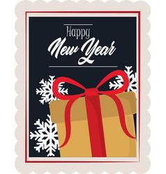 happy new year 2021 gift box snowflakes vector image