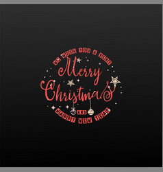 happy new year and merry christmas calligraphy vector image