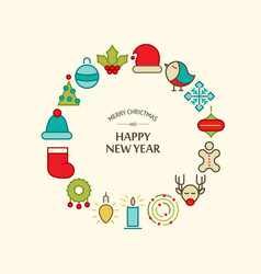 happy new year greeting round composition vector image