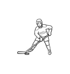 Hockey player hand drawn outline doodle icon vector
