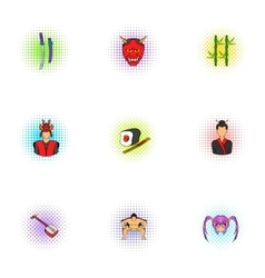 Holiday in Japan icons set pop-art style vector image