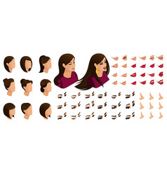 isometry emotions of a beautiful woman vector image
