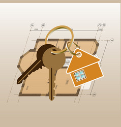 keyring with keys on a house drawing background vector image