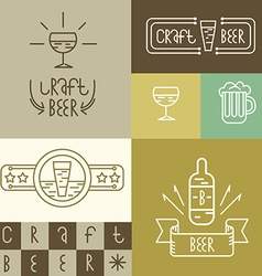 Linear craft beer and brewery style design vector