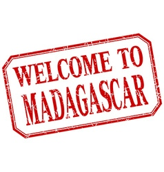 Madagascar - welcome red vintage isolated label vector