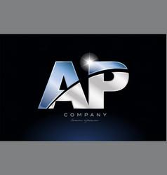 Metal blue alphabet letter ap a p logo company vector