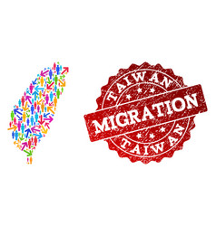 Migration collage of mosaic map of taiwan and vector