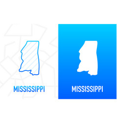 Mississippi - us state contour line in white vector