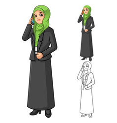 Muslim Businesswoman Wearing Green Veil or Scarf vector