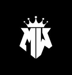 mw logo monogram shield shape with crown design vector image