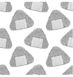 onigiri pattern in hand-drawn style vector image