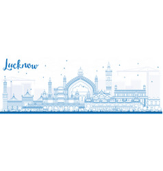 Outline lucknow skyline with blue buildings vector