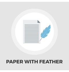 Paper and bird feather pen icon flat vector